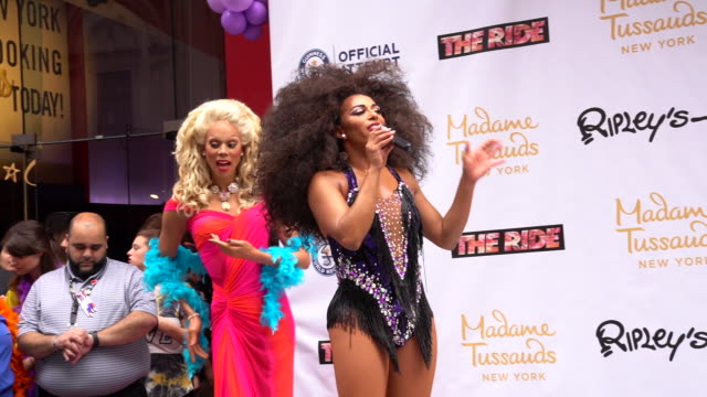 speech shangela thanks everyone for supporting and coming out to the world pride record with madame tussauds new york and ripley's believe it or not... - madame tussauds stock videos & royalty-free footage