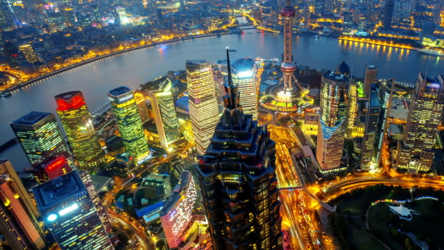 shanghai at night, time lapse(move up). - shanghai stock videos & royalty-free footage