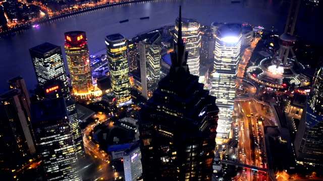 shanghai at night, time lapse - ward stock videos & royalty-free footage