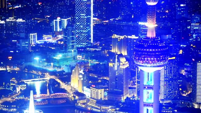 shanghai at night, time lapse - communications tower stock videos & royalty-free footage