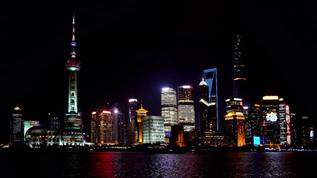 Shanghai at night with fireworks