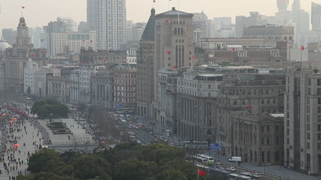 stockvideo's en b-roll-footage met shanghai bund at dusk,china - oude stad