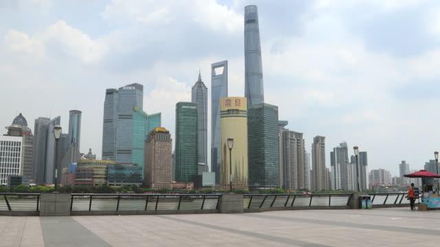 Shanghai Bund promenade with skyscrapers