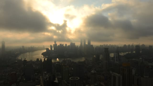 shanghai - bund - skyline - time lapse fast motion - shanghai stock videos & royalty-free footage