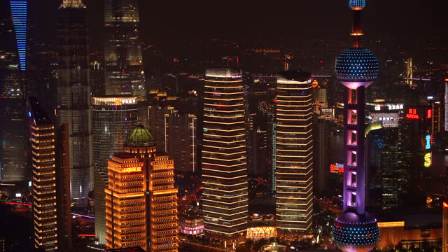 shanghai city in night,lujiazui building - china east asia stock videos & royalty-free footage