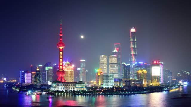 4K: Shanghai City Skyline nachts Mid-Autumn Festival, China
