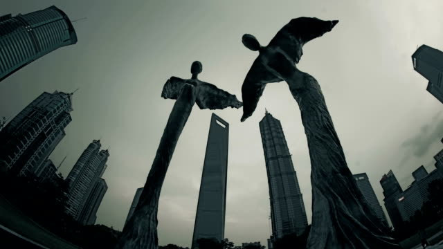 shanghai city time lapse - sculpture stock videos & royalty-free footage