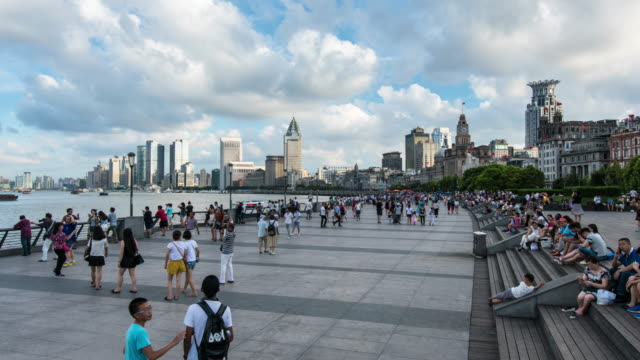 shanghai cityscape 4k time lapse - the bund stock videos & royalty-free footage