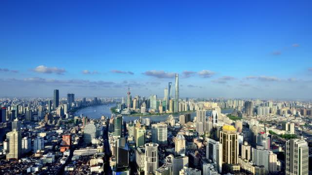 vídeos de stock e filmes b-roll de 4k: shanghai cityscape at sunny day time lapse, china - céu claro