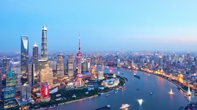 4k: shanghai cityscape at sunset to night time lapse, china - sunset to night time lapse stock videos & royalty-free footage