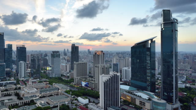 4k: shanghai cityscape, china, day to night transition, panning - panning stock videos & royalty-free footage