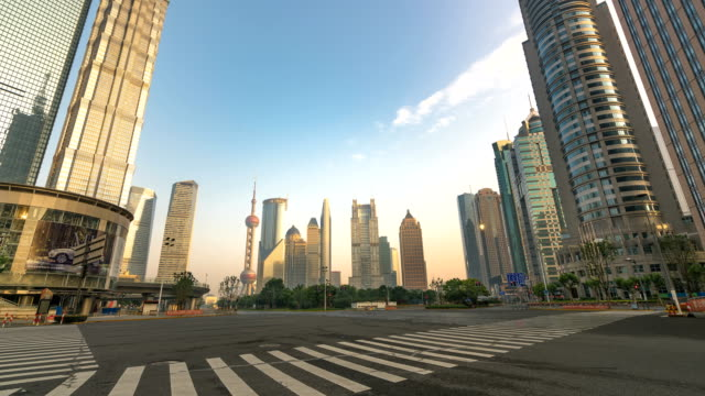shanghai cityscape dawn - empty road stock videos and b-roll footage
