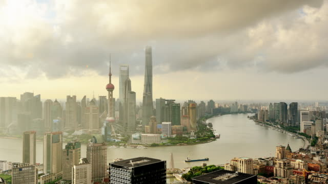 4k: shanghai cityscape view at sunrise to day time lapse, china - shanghai world financial center stock videos & royalty-free footage