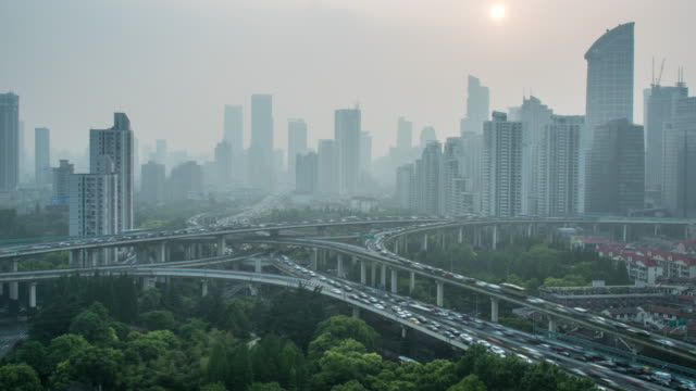 shanghai cityscape,4k time lapse - smog stock videos & royalty-free footage