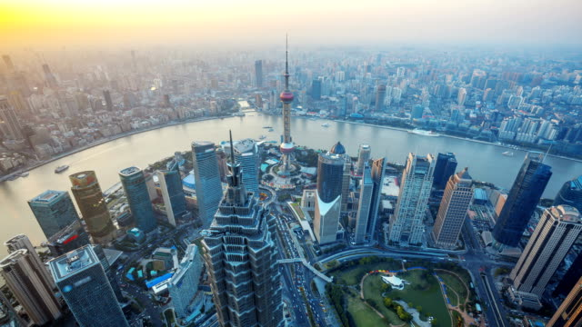 Shanghai, Day to Night, Time Lapse.