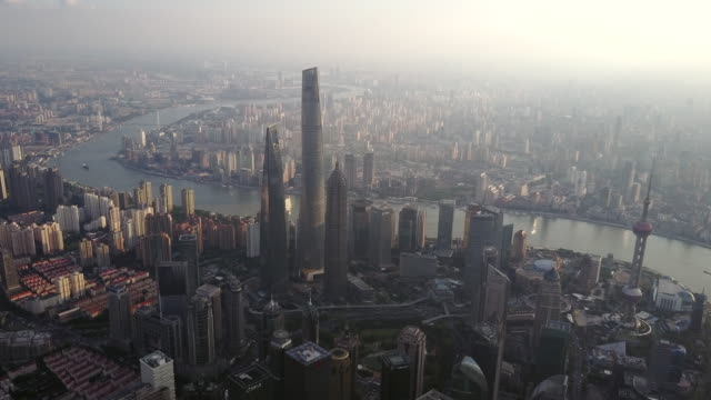 shanghai financial district at sunset - east china stock videos & royalty-free footage