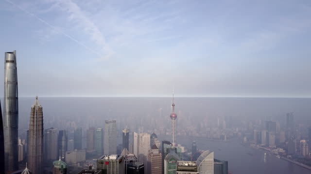 shanghai financial district in fog - wide angle stock videos & royalty-free footage