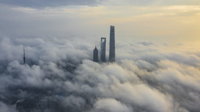 shanghai financial district in fog - viewpoint stock videos & royalty-free footage