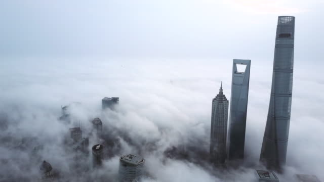 shanghai financial district in fog - east china stock videos & royalty-free footage
