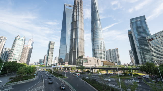 t/l shanghai financial district landmark - shanghai world financial center stock videos & royalty-free footage