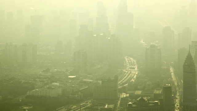 shanghai in thick haze - pollution stock videos & royalty-free footage
