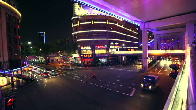 Shanghai intersection at night