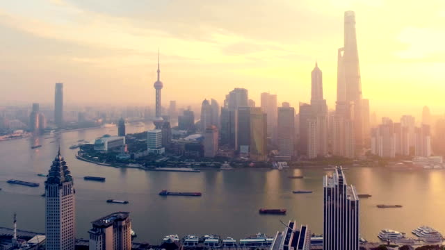 Shanghai Landmark morning aerial