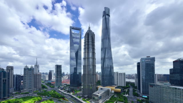 4k: shanghai landmark skyscraper, china - mid section stock videos & royalty-free footage
