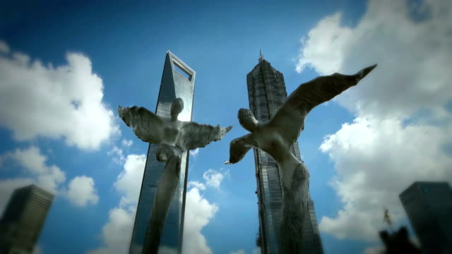 shanghai landmark - sculpture stock videos & royalty-free footage