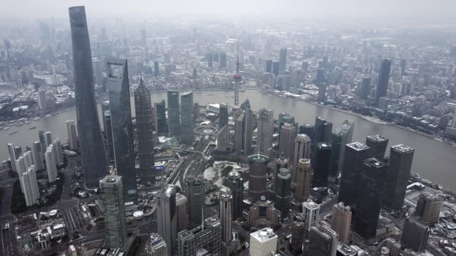 Shanghai lujiazui financial district after Snowstorm