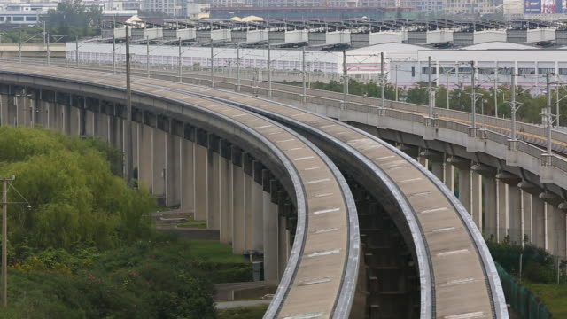A Shanghai Maglev train traveling at high speed
