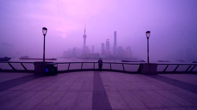 shanghai morning, bund and lujiazui view - spazio vuoto video stock e b–roll