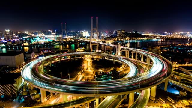 Shanghai Nanpu Bridge at Night - Timelapse Pan
