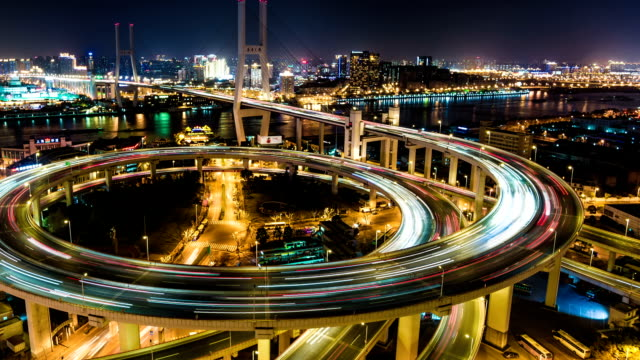 Shanghai Nanpu Bridge at Night - Timelapse Zoom Out