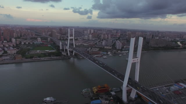 aerial shanghai nanpu bridge - cable stayed bridge stock videos & royalty-free footage