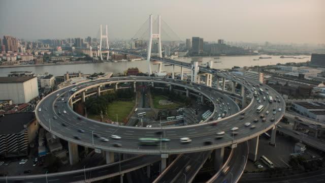 Shanghai, Nanpu bridge with passing traffic