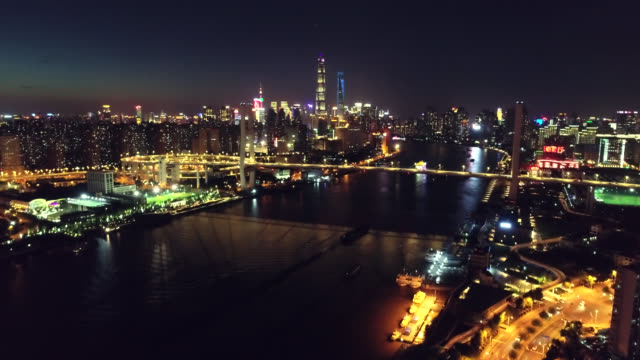 Shanghai Night Skyline Drone Point of View