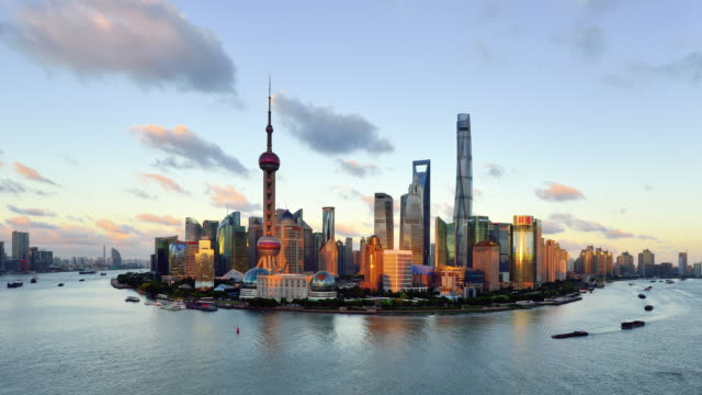 4k: shanghai panoramic at sunset to night time lapse, china - shanghai stock videos & royalty-free footage