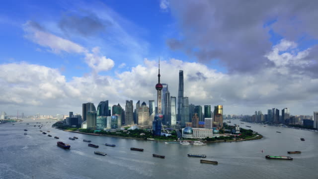 4k: shanghai panoramic skyline at day to sunset time lapse at typhoon day, china - day to sunset stock videos & royalty-free footage