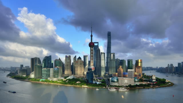 4K: Shanghai Panoramic Skyline at Day To Sunset Time Lapse at Typhoon Day, China