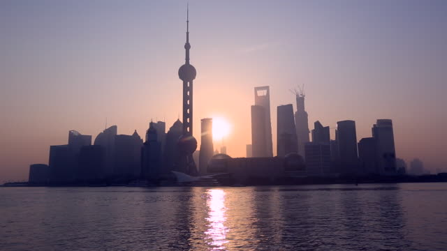 WS Shanghai Pudong in silhouette at sunrise