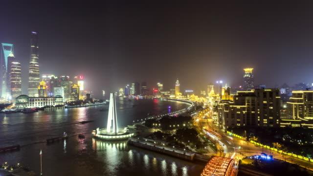 vídeos de stock, filmes e b-roll de shanghai pudong lujiazui skyscraper time lapse at night - torre oriental pearl