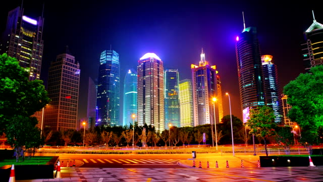 shanghai, pudong, night modern financial center - tower stock videos & royalty-free footage