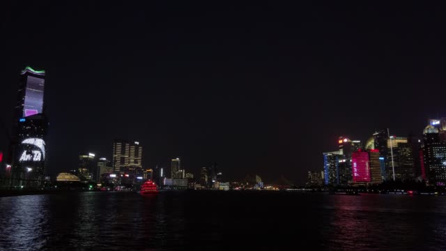 shanghai pudong night view - liyao xie stock videos & royalty-free footage