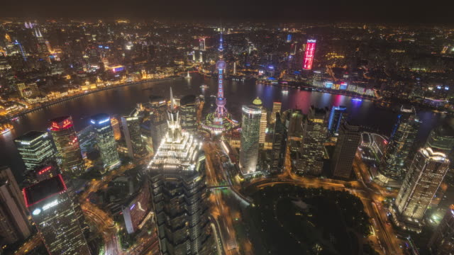 shanghai skyline aerial view day to night, tilt down - day and night image series stock videos & royalty-free footage
