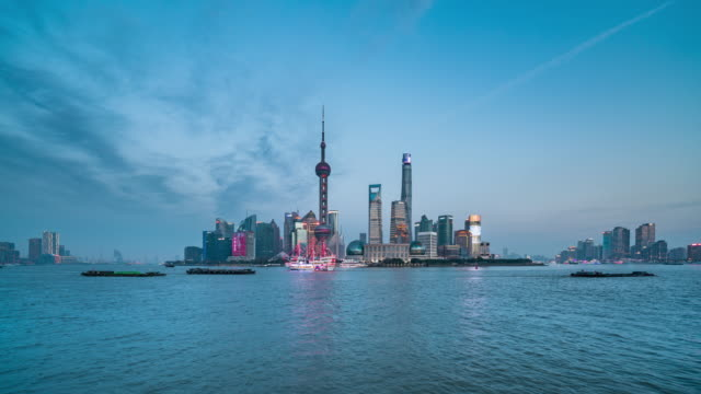 shanghai skyline and huangpu river, showing pudong - river huangpu stock videos & royalty-free footage