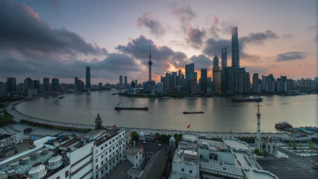 shanghai skyline at dawn - river huangpu stock videos & royalty-free footage