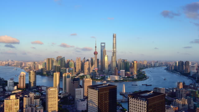 4k: shanghai skyline at day to sunset time lapse, china - day to sunset stock videos & royalty-free footage