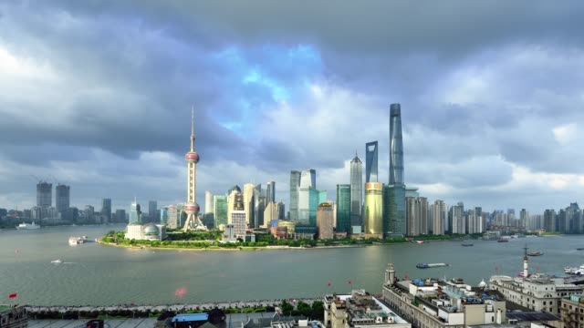 4K: Shanghai Skyline at Day to Sunset Time Lapse, China