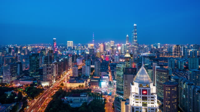 t/l ws ha shanghai skyline at dusk / shanghai, china - elevated road stock videos & royalty-free footage